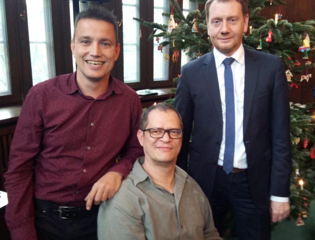 Ministerpräsident Michael Kretschmer mit Vertretern des MsG e.V. in der sächsischen Staatskanzlei